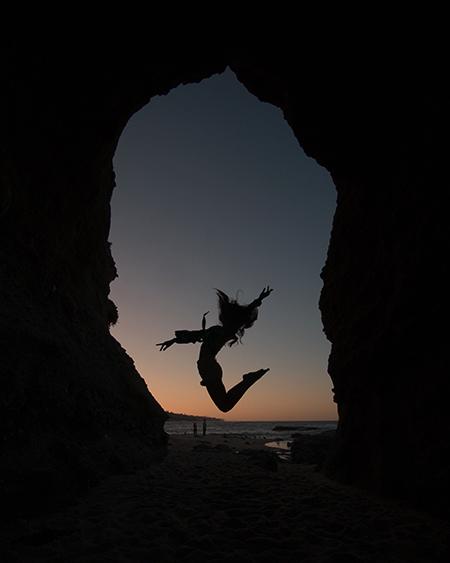 Montage Laguna Beach cave jump silhouette